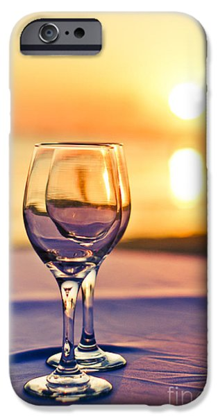 Wine Service Photographs iPhone Cases - Romantic Sunset Drink With Wine Glass iPhone Case by Tuimages