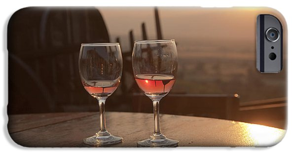 Women Together iPhone Cases - Romantic sunset with a glass of wine iPhone Case by Maria Heyens