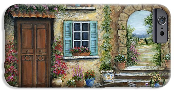 Table Wine iPhone Cases - Romantic Tuscan Courtyard iPhone Case by Marilyn Dunlap