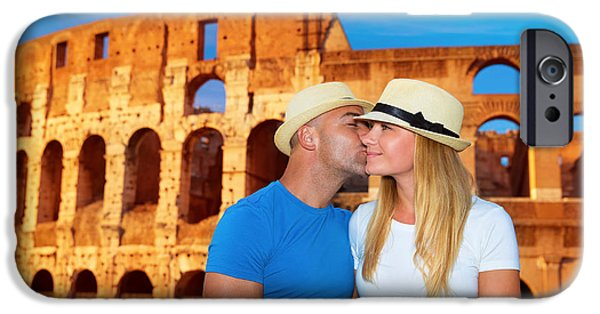 Women Together iPhone Cases - Romantic vacation to Rome Italy iPhone Case by Anna Omelchenko