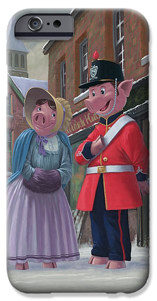 Snowy Day Digital Art iPhone Cases - Romantic Victorian Pigs In Snowy Street iPhone Case by Martin Davey