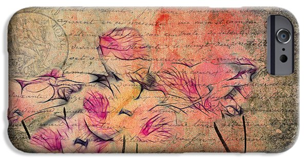 Texture Floral iPhone Cases - Romantiquite - Carte Postale  iPhone Case by Variance Collections