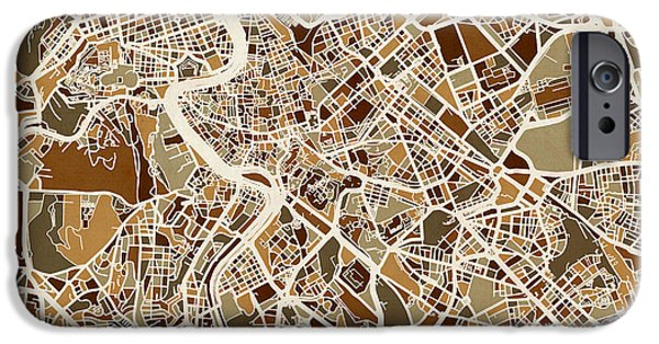 Street Maps iPhone Cases - Rome Italy Street Map iPhone Case by Michael Tompsett