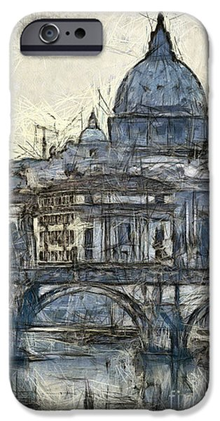 River View Pastels iPhone Cases - Rome Saint Peters Basilica sketch iPhone Case by Antony McAulay