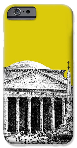 Pen And Ink iPhone Cases - Rome Skyline The Pantheon - Mustard iPhone Case by DB Artist