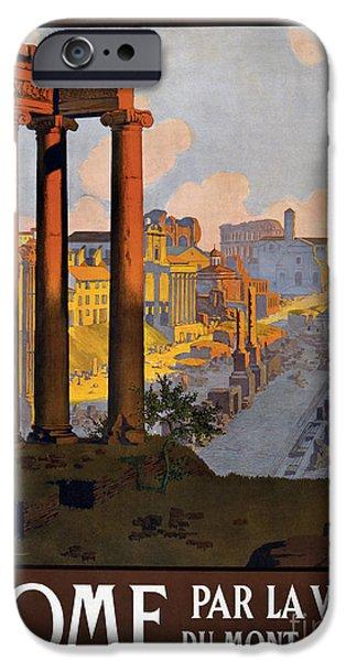 Fashion Design Art iPhone Cases - Rome Vintage Travel Poster iPhone Case by Jon Neidert