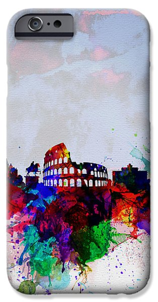 Downtown Digital iPhone Cases - Rome Watercolor Skyline iPhone Case by Naxart Studio
