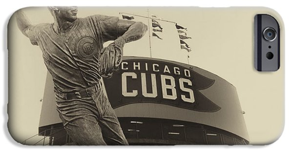 Wrigley Field Digital iPhone Cases - Ron Santo Chicago Cub Statue In Heirloom Finish iPhone Case by Thomas Woolworth