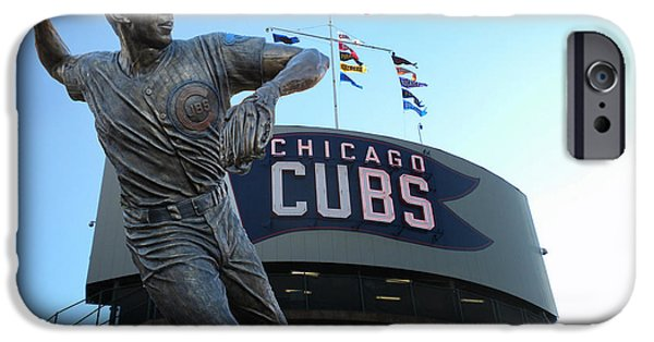 Wrigley Field Digital iPhone Cases - Ron Santo Chicago Cubs Statue iPhone Case by Thomas Woolworth