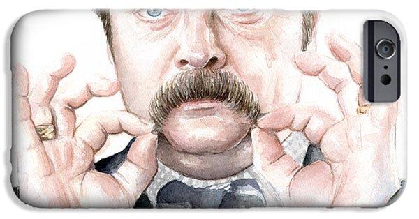 Mustaches iPhone Cases - Ron Swanson Portrait iPhone Case by Olga Shvartsur