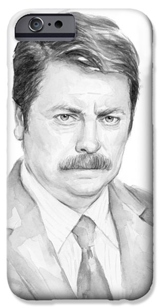 Fan Paintings iPhone Cases - Ron Swanson  iPhone Case by Olga Shvartsur