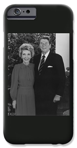 First Lady Photographs iPhone Cases - Ronald And Nancy Reagan iPhone Case by War Is Hell Store