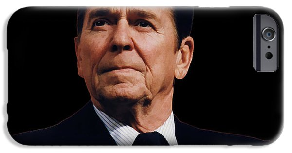 Free Mixed Media iPhone Cases - Ronald Reagan  1911 - 2004 iPhone Case by Daniel Hagerman