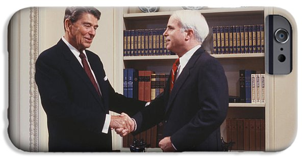 Oval Office iPhone Cases - Ronald Reagan and John McCain iPhone Case by Carol Highsmith
