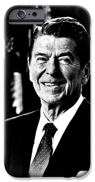 Potus iPhone Cases - Ronald Reagan iPhone Case by Benjamin Yeager