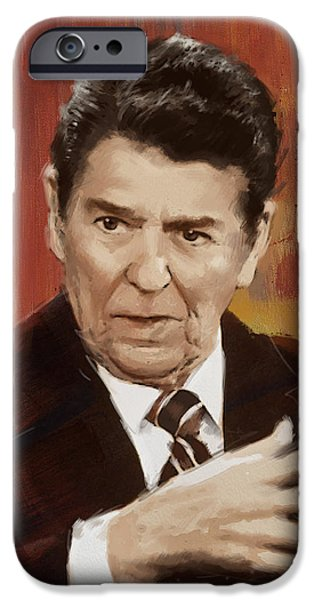 Reagan iPhone Cases - Ronald Reagan Portrait 2 iPhone Case by Corporate Art Task Force