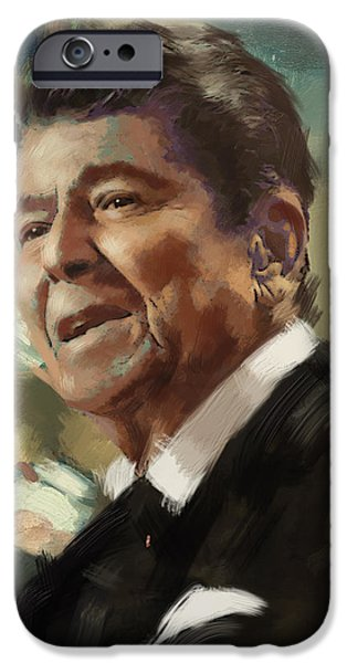 Reagan iPhone Cases - Ronald Reagan Portrait 5 iPhone Case by Corporate Art Task Force