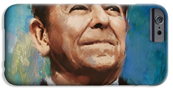 Thomas Jefferson Paintings iPhone Cases - Ronald Reagan Portrait 6 iPhone Case by Corporate Art Task Force