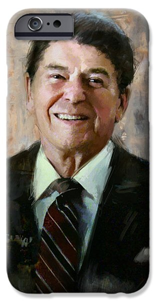 Reagan iPhone Cases - Ronald Reagan Portrait 7 iPhone Case by Corporate Art Task Force