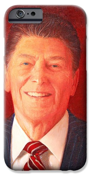 President iPhone Cases - Ronald Reagan Up Close iPhone Case by Cora Wandel
