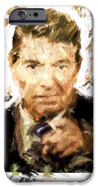 Tea Party Mixed Media iPhone Cases - Ronald Reagan iPhone Case by Vivian Frerichs