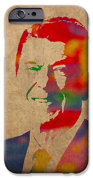 Reagan iPhone Cases - Ronald Reagan Watercolor Portrait on Worn Distressed Canvas iPhone Case by Design Turnpike