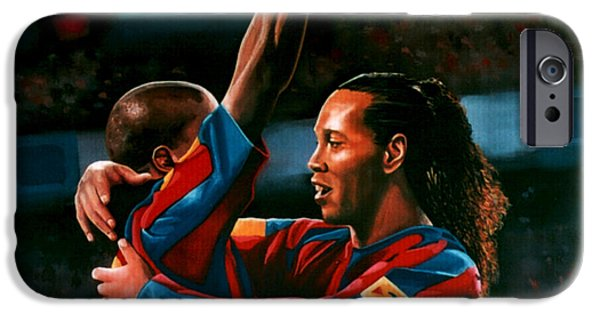 Chelsea iPhone Cases - Ronaldinho and Etoo iPhone Case by Paul Meijering