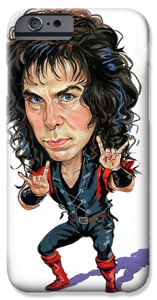 Art iPhone Cases - Ronnie James Dio iPhone Case by Art