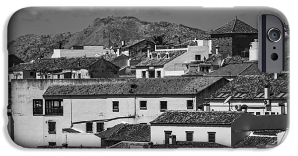 Spanish House iPhone Cases - Roofs of Ronda. Andalusia. Black and White iPhone Case by Jenny Rainbow