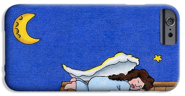 Night Angel iPhone Cases - Rooftop Sleeper iPhone Case by Sarah Batalka