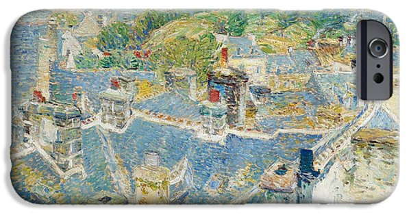 Childe iPhone Cases - Rooftops Brittany iPhone Case by Childe Hassam