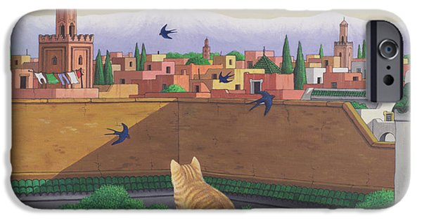 Swallows iPhone Cases - Rooftops In Marrakesh, 1989 Acrylic On Linen iPhone Case by Larry Smart