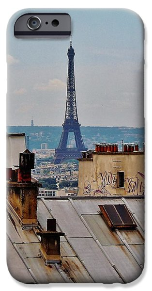 Rooftop iPhone Cases - Rooftops of Paris and Eiffel Tower iPhone Case by Marilyn Dunlap