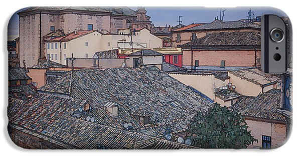 Town iPhone Cases - Rooftops of Toledo iPhone Case by Joan Carroll