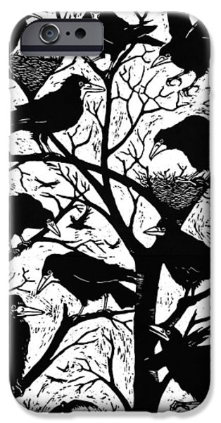 Print Photographs iPhone Cases - Rooks, 2013 Woodcut iPhone Case by Nat Morley