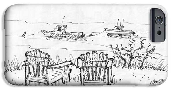 Maine Drawings iPhone Cases - Room for Two Monhegan Island 1993 iPhone Case by Richard Wambach
