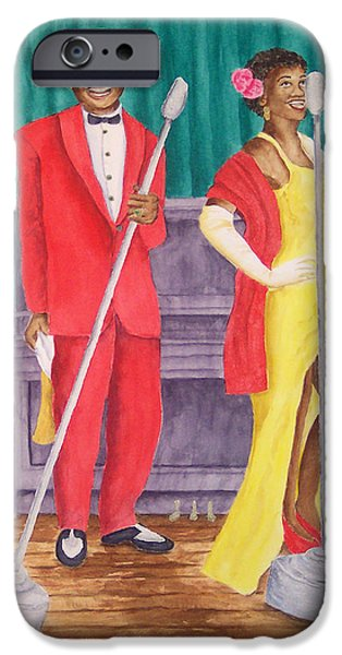 1950s Portraits Paintings iPhone Cases - Roosevelt and Lola iPhone Case by Rhonda Leonard