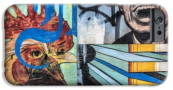 Mural Mixed Media iPhone Cases - Rooster and Man Graffiti iPhone Case by Terry Rowe