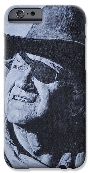 True Grit Drawings iPhone Cases - Rooster Cogburn iPhone Case by Denise Thurston Newton