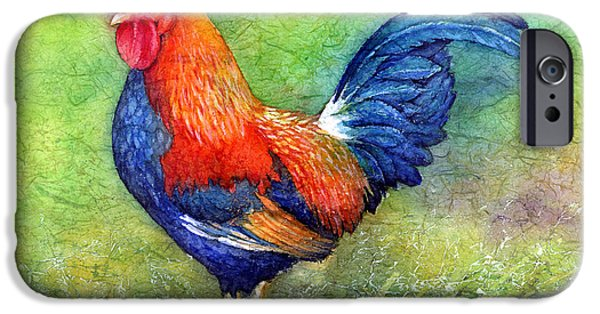 Hens iPhone Cases - Rooster  iPhone Case by Hailey E Herrera