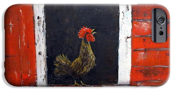 Maine Farms Paintings iPhone Cases - Rooster In Window iPhone Case by Lee Piper
