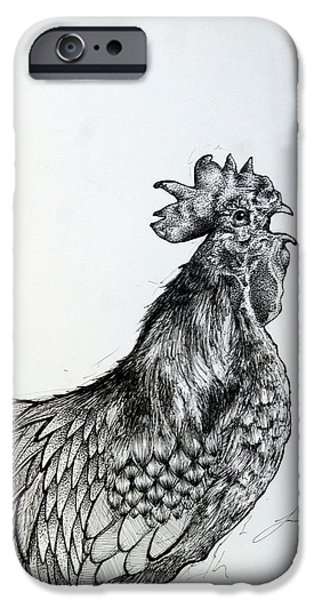 Feed Drawings iPhone Cases - Rooster iPhone Case by Jacob Dali  Rivera