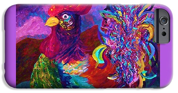 Virtual Mixed Media iPhone Cases - Rooster on the Horizon iPhone Case by Eloise Schneider