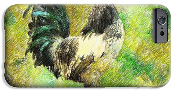 Crayons Drawings iPhone Cases - Rooster iPhone Case by Taylan Soyturk
