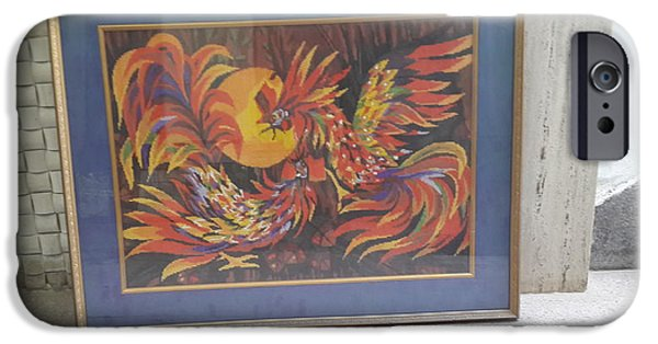 Work Tapestries - Textiles iPhone Cases - Roosters iPhone Case by Palli Ritu