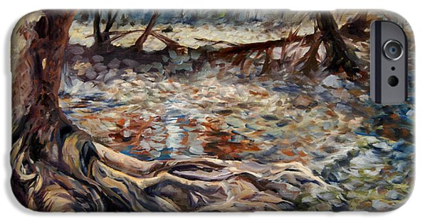 Oak Creek Paintings iPhone Cases - Rooted Against Any Storm iPhone Case by SJW Grogan
