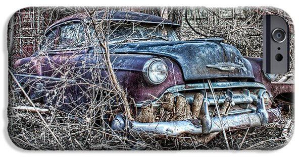 Vintage Car Pyrography iPhone Cases - Rooted In Chevy iPhone Case by Corey Cassaw