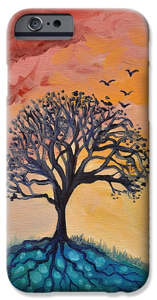 Tree Roots Paintings iPhone Cases - Roots and Wings iPhone Case by Cedar Lee