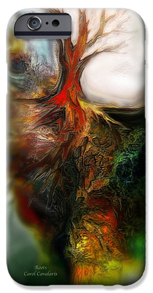 Tree Art Print Mixed Media iPhone Cases - Roots iPhone Case by Carol Cavalaris