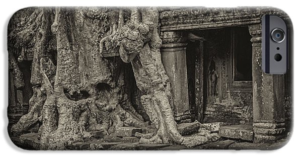 Tree Roots iPhone Cases - Roots in Ruins iPhone Case by Hitendra SINKAR